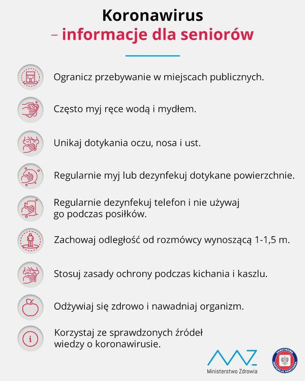Infografika: Koronawirus - informacja dla seniorów