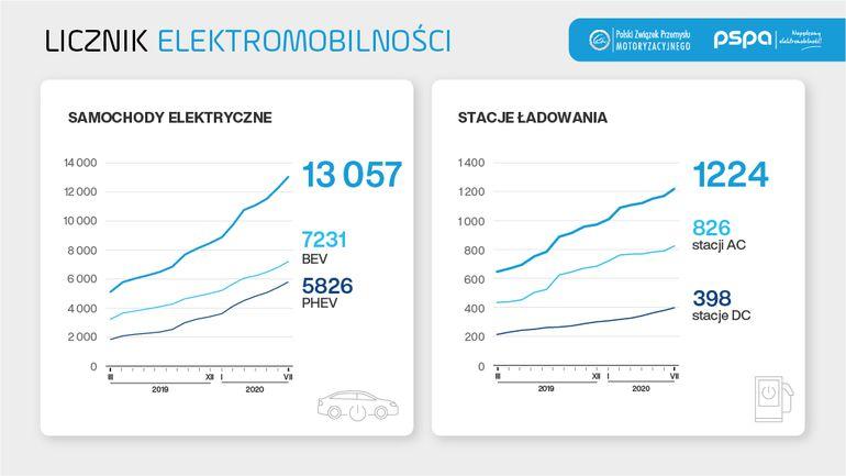 Ponad 13 tysięcy samochodów osobowych z napędem elektrycznym jeździ po polskich drogach