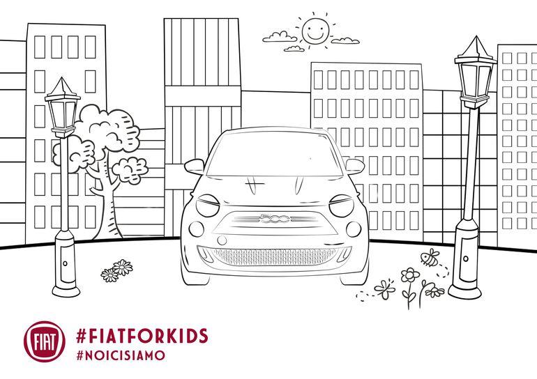 Kolorowanka dla dzieci z samochodzikiem Fiat 500