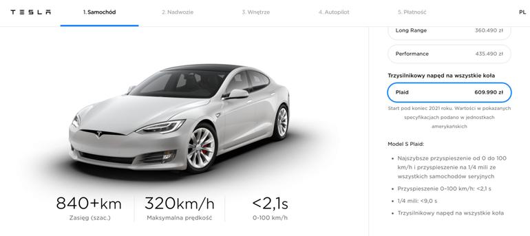 Tesla Model S Plaid nadchodzi! Z trzema silnikami i mocą ponad 1100 koni mechanicznych!