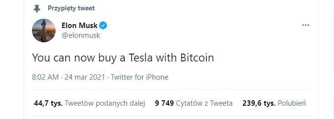 Możesz już kupić Teslę za bitcoina